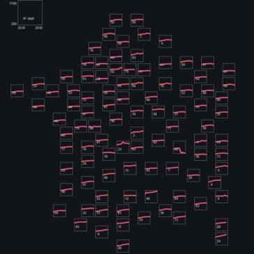 Un cartogramme en small multiples pour visualiser l'évolution des dépenses des départements